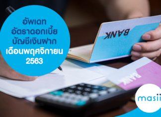 อัพเดทอัตราดอกเบี้ยบัญชีเงินฝาก เดือนพฤศจิกายน 2563